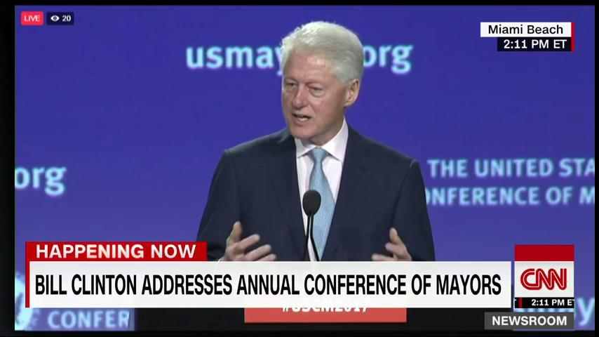 Former Pres. Clinton is speaking to more than 250 mayors at an annual conference. Watch: