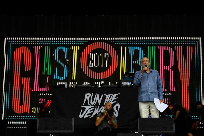 Labour's Corbyn puts politics center stage at Glastonbury Festival