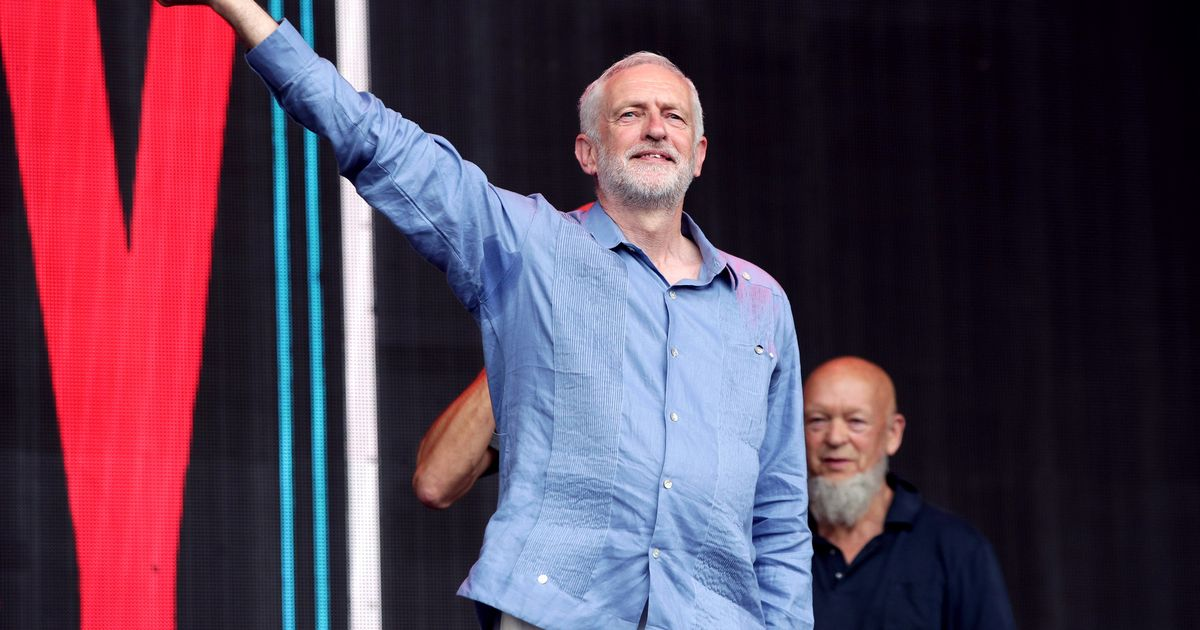 Jeremy Corbyn gets rock star reception from the Glastonbury crowds during Pyramid Stage speech