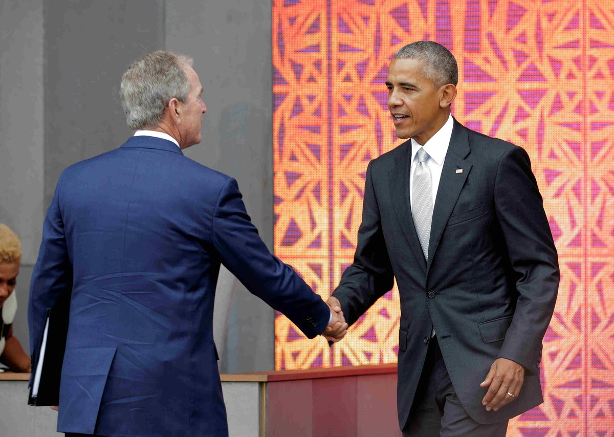 As President Donald Trump's popularity sinks further, Bush and Obama are on the rise