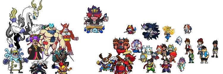 妖怪ウォッチの自作ドット絵たち。マリオみたいなゲームに使って、小学生の子たちに遊んでもらえてます。