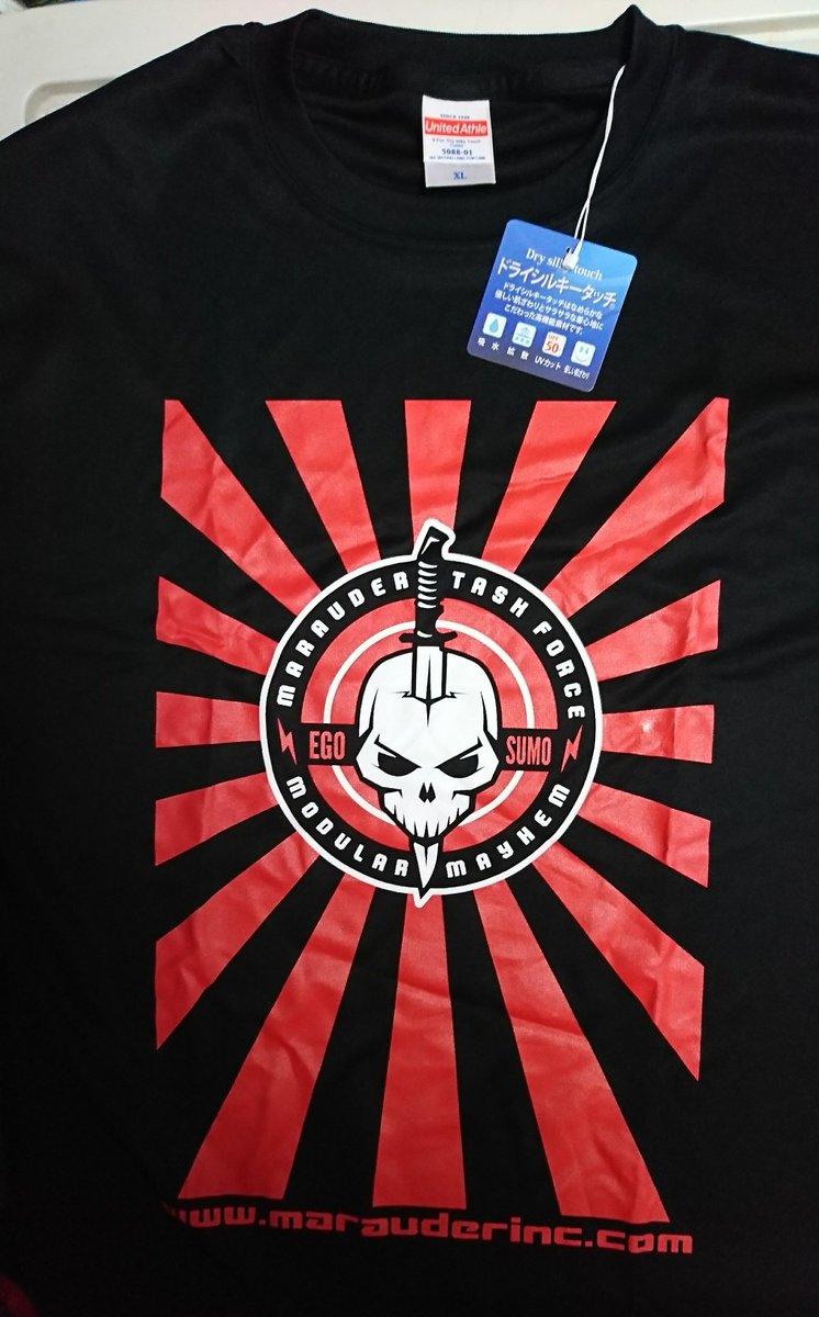 夏のコミケやワンフェスで頒布予定のTシャツです。もちろん版元のMARAUDER.inc様には快諾済み。これは身内の試し刷