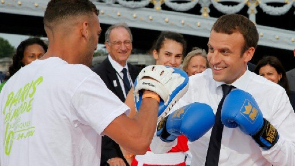 French President shows game side to support Paris Olympics 2024