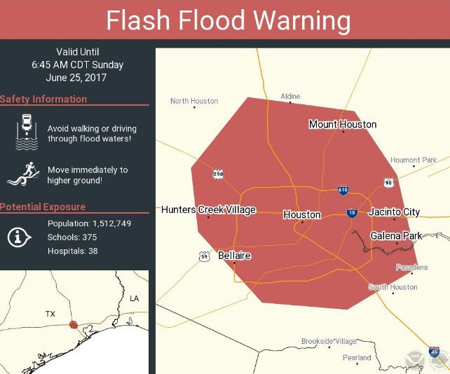 Flash flood warning issued for parts of Houston as storms hit the area Sunday morning