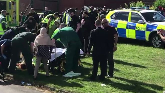 Six injured, one arrested as woman drives into crowd of pedestrians in England