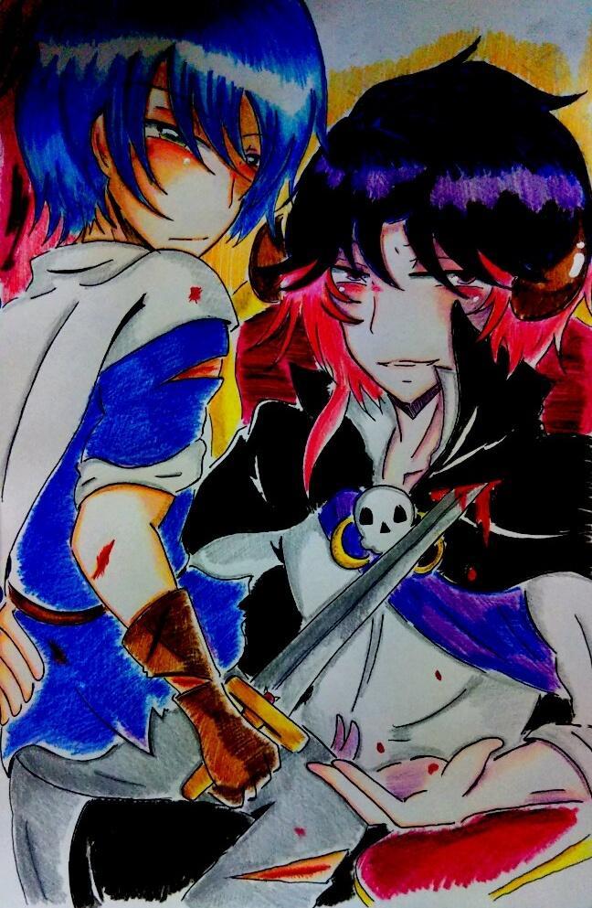 魔王&勇者落書き!!(*´∇`*)たまにはちゃんと魔王、勇者してる二人を描かないとね🎵