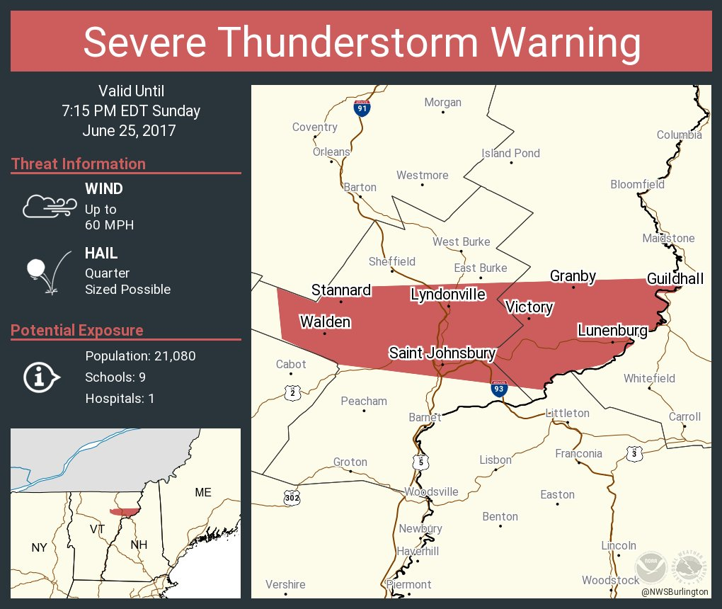 test Twitter Media - Severe Thunderstorm Warning including Saint Johnsbury VT, Lyndonville VT, Danville VT until 7:15 PM EDT https://t.co/7OevvN3WU1