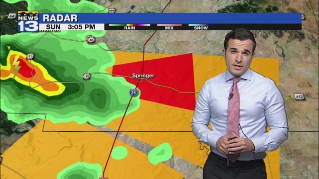 Tornado Warning for Mora Co. until 6:15