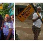Tanzanian street sign bearing the name of Victor Wanyama Vandalized