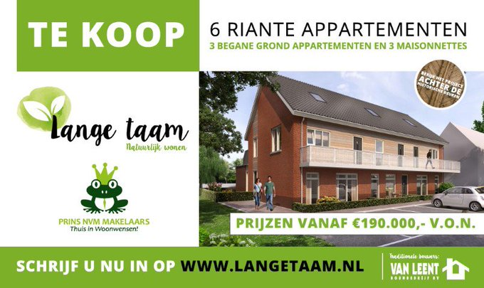 ADV; 6 nieuwbouw appartementen te Maasland, start verkoop 28 juni! https://t.co/b9JVADg4a2 https://t.co/ArG7oXsAVB