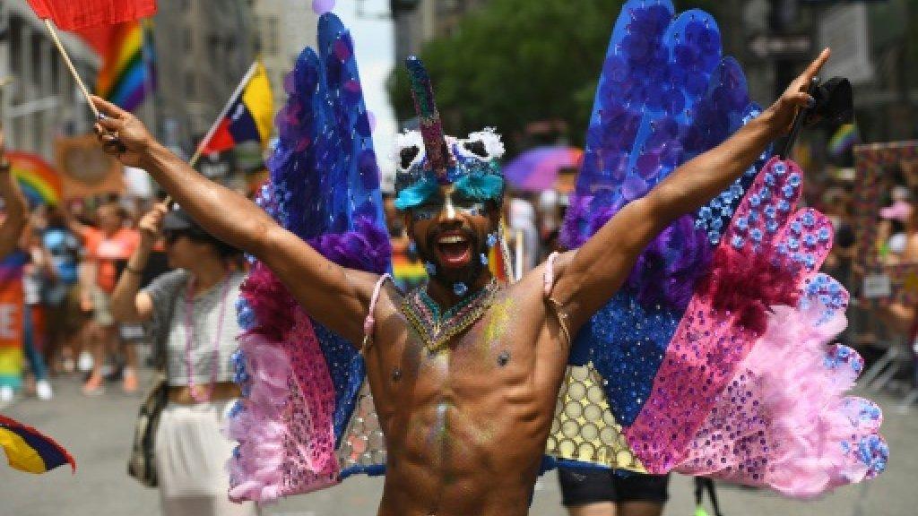 New York's gay pride march: anti-Trump but also pro-fun