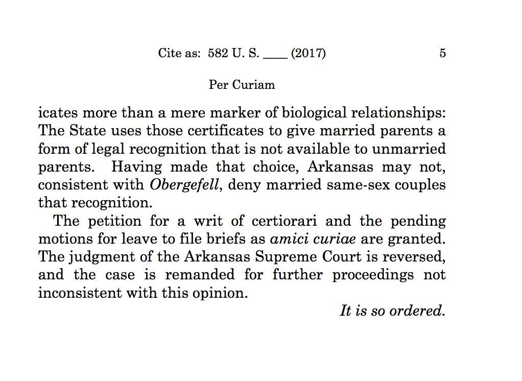 Supreme Court Orders Arkansas To Allow Names Of Both Same Sex