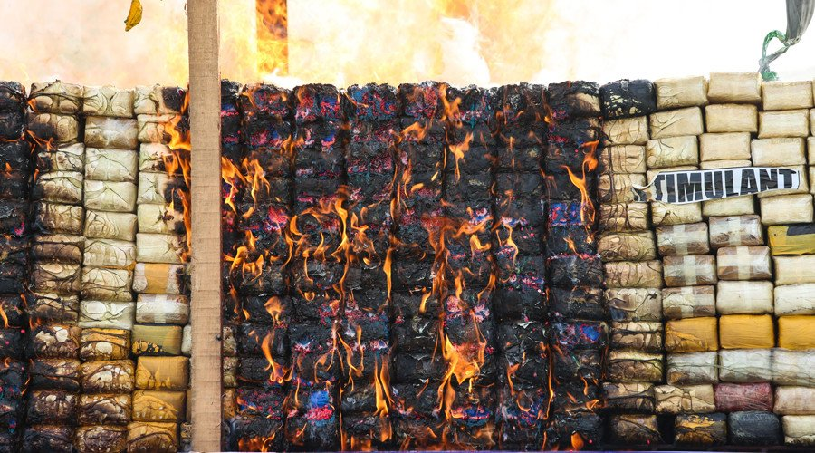 $1bn worth of seized drugs goes up in flames in Thailand, Myanmar & Cambodia
