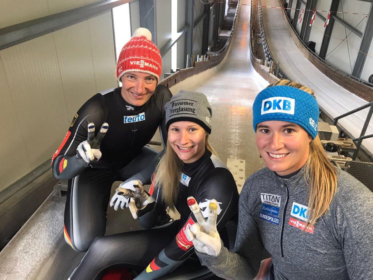 Deutsche Rennrodel Ladies gut in Form. Morgen früh 1. Eisstart-Test auf dem Weg Richtung #PyeongChang2018 #LugeLove https://t.co/dW6KD1LggB
