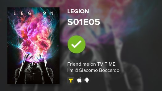 test Twitter Media - I've just watched episode S01E05 of Legion! #legion  https://t.co/PtG3ipiG0N https://t.co/Ai343LHdaW
