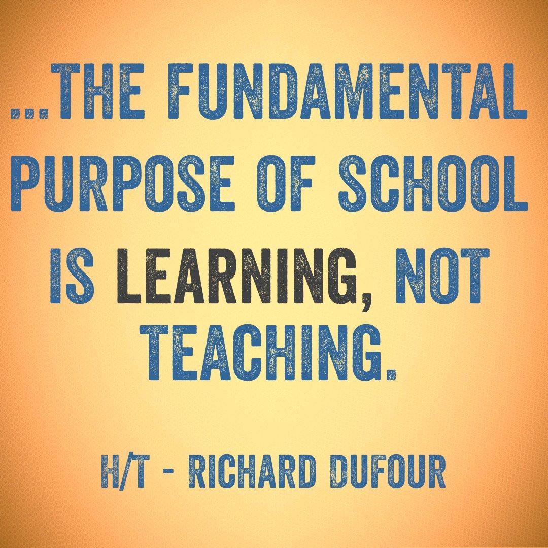 The purpose of school is learning, not teaching. Create a culture of learning in your school. #EDpiper #JoyfulLeaders #atplc #iste17 #edchat https://t.co/jMI8DJjl3d