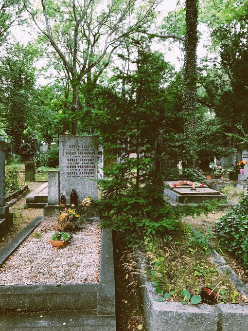 1 pic. Prague's largest cemetery🌿🕯💞 So peaceful, ivy everywhere, flowers, candles lit, rain drizzling💧✨