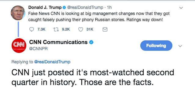 """.@CNNPR responds to Trump's post about """"Fake News CNN"""" over retracted Russia story"""