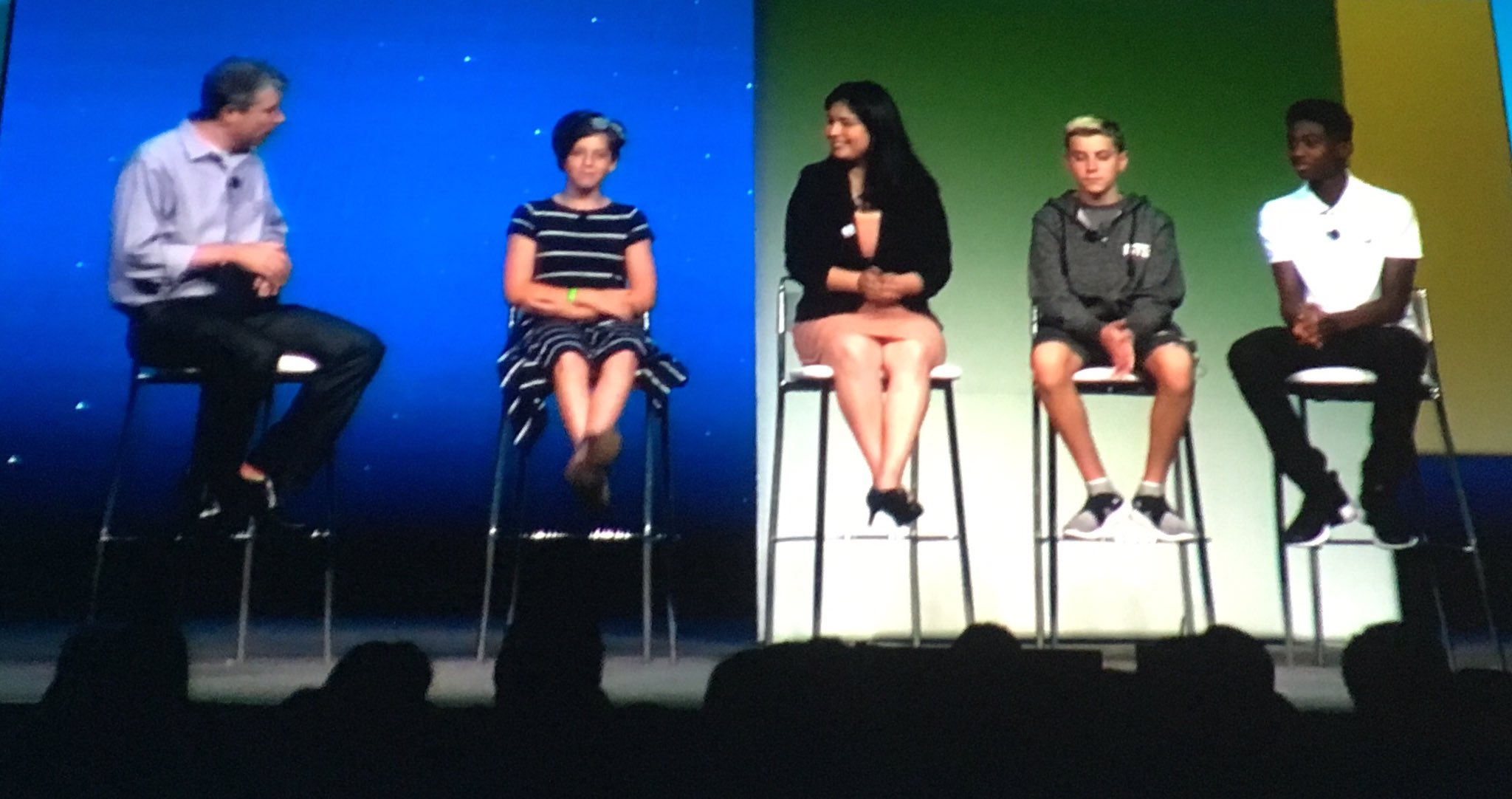 Student panel at #iste17 keynote. Q: What do you think we should remove from schools?  A: Homework, Long Lectures, Desks, Bullying. Wow! https://t.co/WYUi5ENOvK