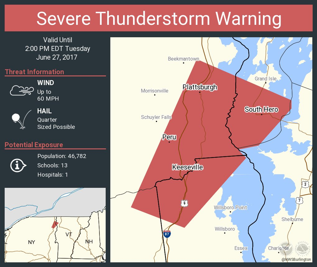 test Twitter Media - Severe Thunderstorm Warning continues for Plattsburgh NY, Keeseville NY, Peru NY until 2:00 PM EDT https://t.co/qlfOIeDa8W