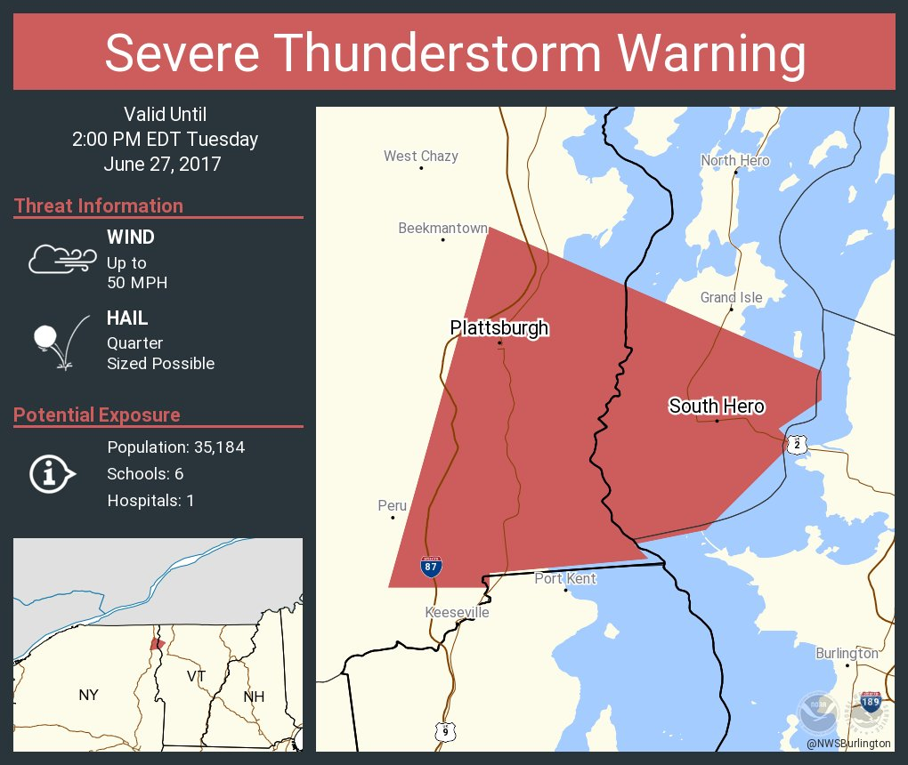 test Twitter Media - Severe Thunderstorm Warning continues for Plattsburgh NY, South Hero VT until 2:00 PM EDT https://t.co/gG6lTd15jI