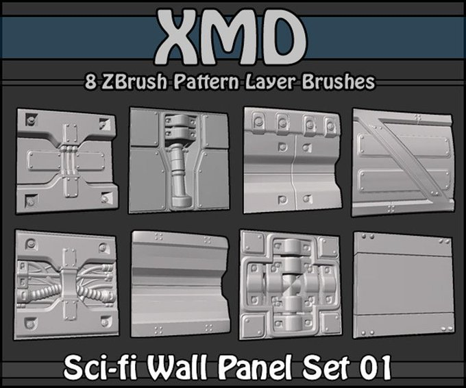 Pick up this Zbrush Sci-fi Wall Panel for FREE! cubebrush indiedev gamedev freebie