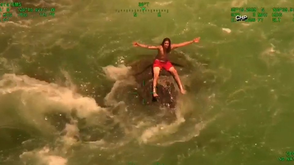 Man plucked from raging California river by helicopter in dramatic video