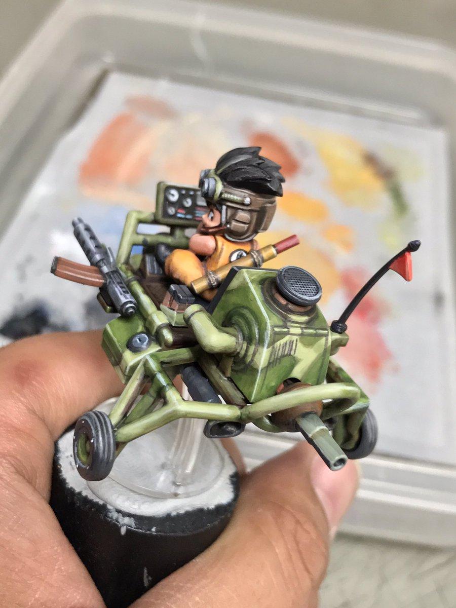 悟空も塗り終わって、メカコレ 孫悟空のジェットバギーが完成しました!だいぶ筆塗りが楽しめたわー(^o^)/#メカコレ #