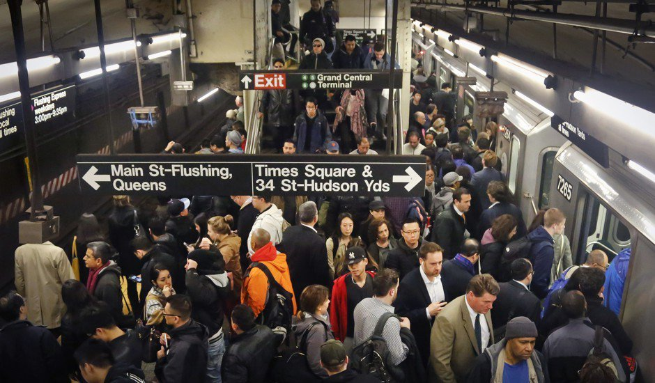 Overcrowding in the New York City Subway.