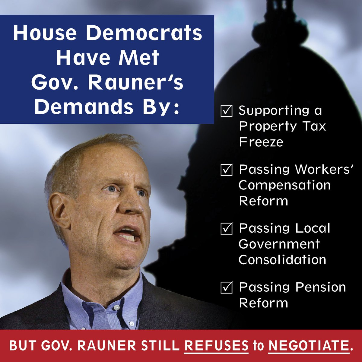 test Twitter Media - House Democrats have met @GovRauner's special session demands, but he still REFUSES to NEGOTIATE. #DoYourJob #twill https://t.co/kilSRMUoan