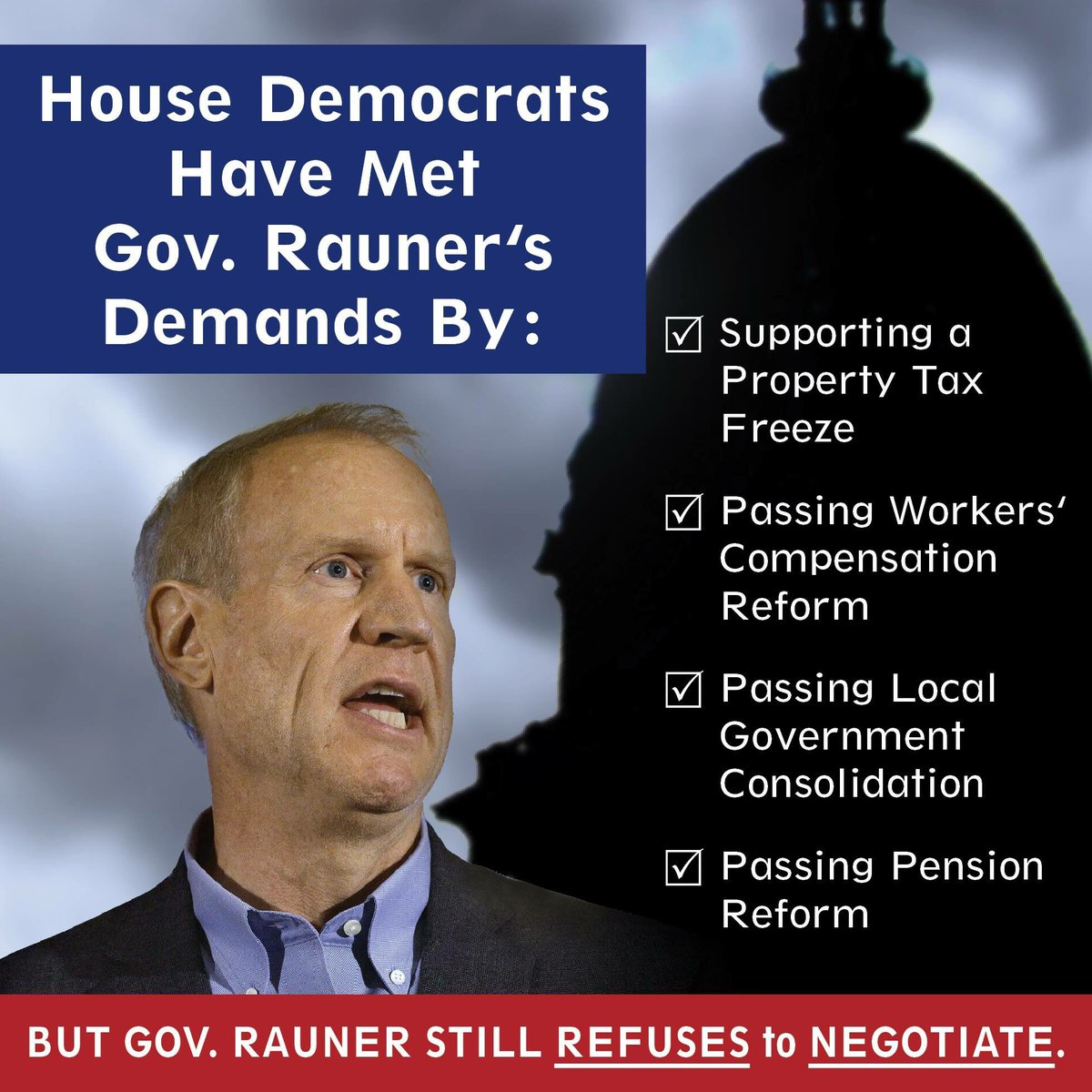 test Twitter Media - House Dems have met Gov. Rauner's special session demands, but he still REFUSES to NEGOTIATE. Call Bruce Rauner today!#BudgetNow #Compromise https://t.co/vCvze2BLqe