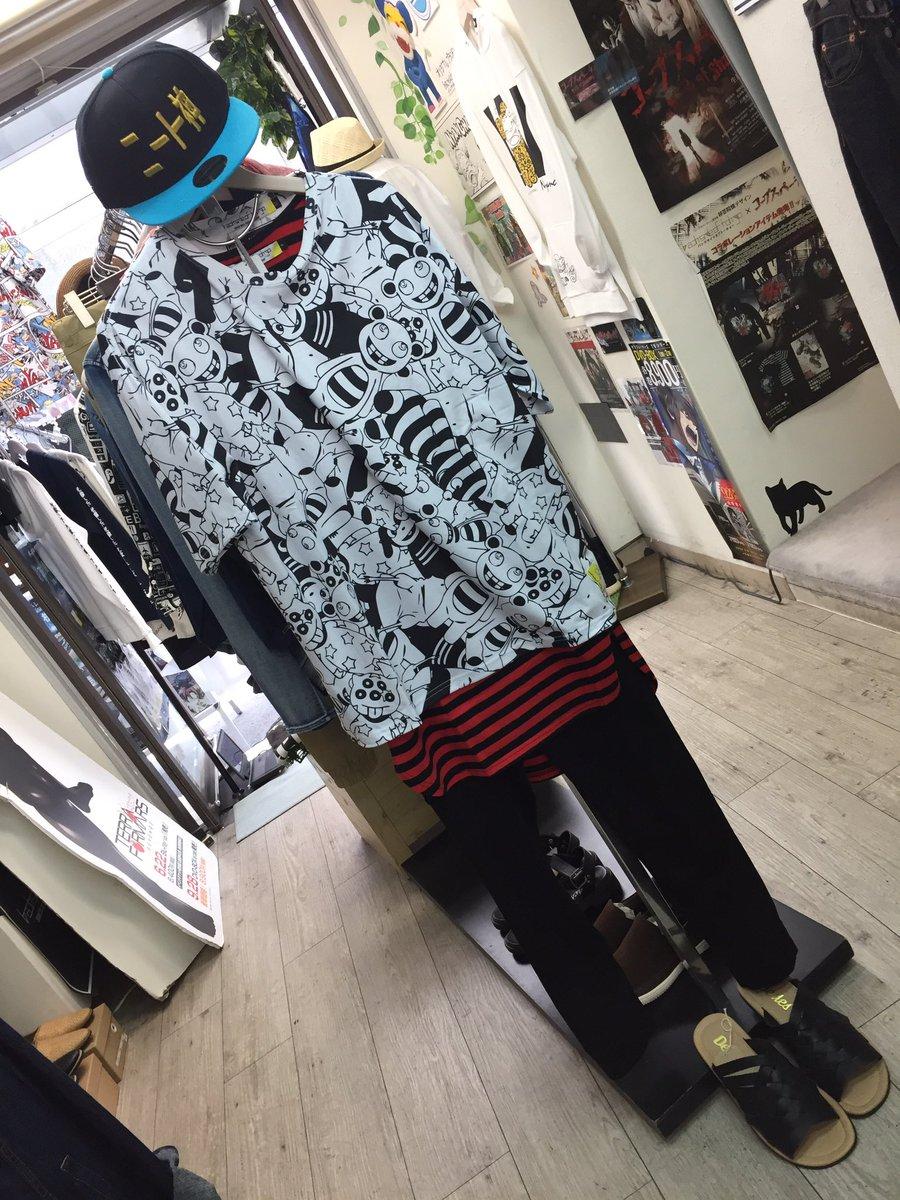 オカルティクナインコーデ♪新作のドールTシャツと、ニート神のキャップです!Tシャツは総柄ですがモノトーンなので、他のアイ