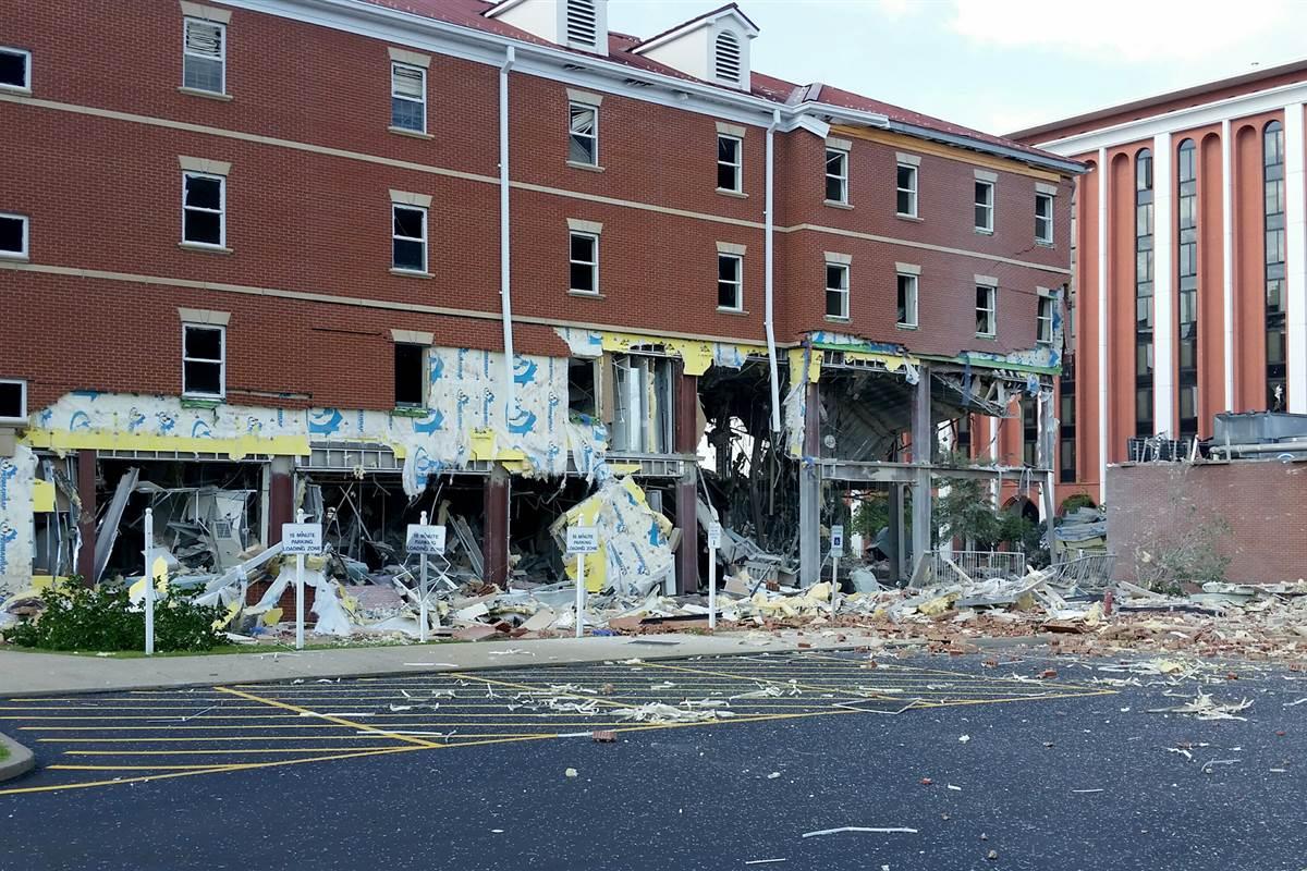 A gas explosion gutted a Kentucky university's dorm building