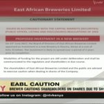 EABL cautions shareholders on shares due to 15B plan