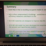 """Andy Dengel @BRE_Group """"#energyefficiency could worsen #IndoorAirQuality, but #ecomaterials for #buildings can help solve it"""" #Ecosee"""