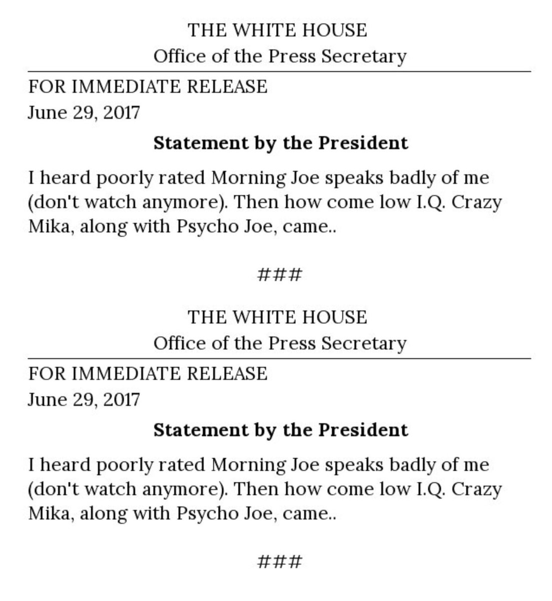 Latest official official statements by @POTUS   #Resist