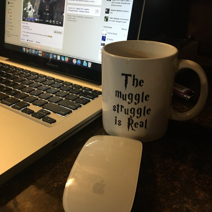 My cup today tells it all. Happy Birthday to Harry Potter and the iPhone!