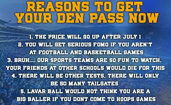 BUY YOUR DEN PASS!  ��: https://t.co/zbPhgGubMS https://t.co/qmnbPnRwIS