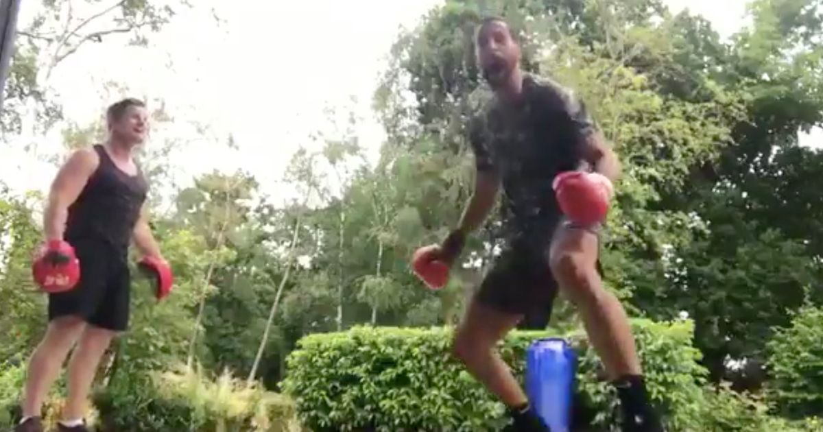 Rio Ferdinand calls out Tyson Fury as former Manchester United star shows off his boxing skills