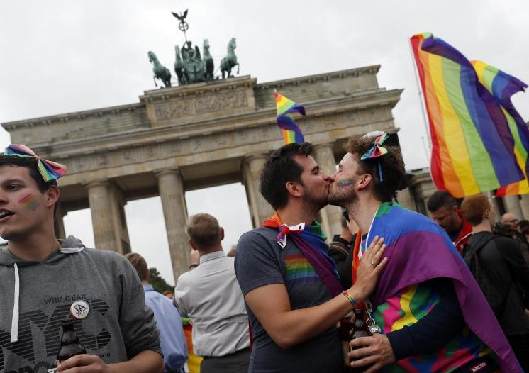 Rainbow flags, bubbly to cheer Germany's new same-sex marriage law