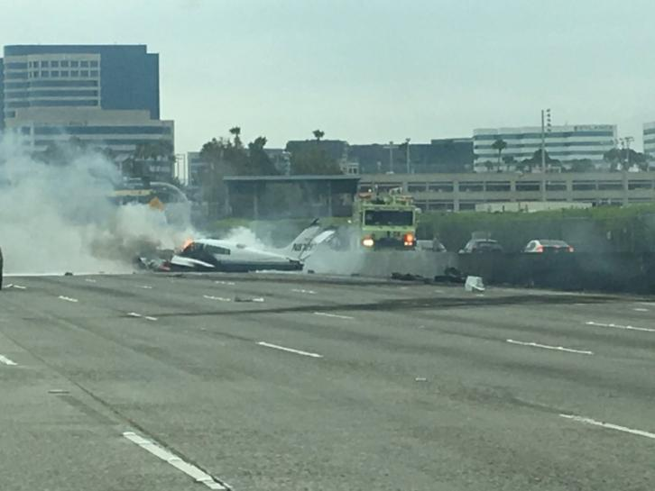 Small plane crashes on California freeway, at least two hurt