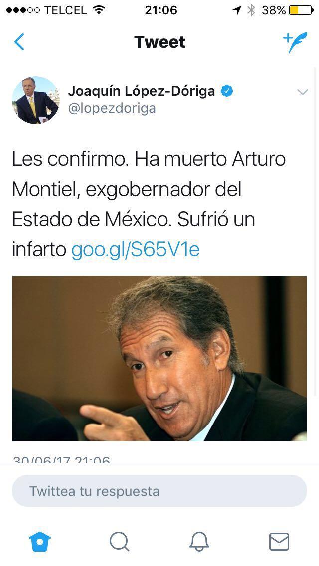 RT @RaulParedesP: #EsteViernesTeDigoQue @lopezdoriga borró el tuit donde dio por muerto a Arturo Montiel. #FAIL https://t.co/P8zmhGw81u