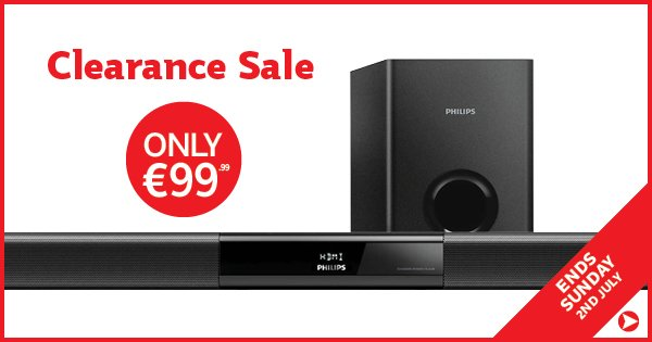 Our Clearance Sale must end Sunday! Take advantage w/ the slick Philips Soundbar, now €99.99 https://t.co/Ly8HmZbMWI https://t.co/8vhJbKKe43