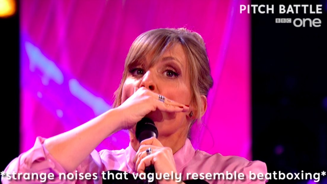Mel Giedroyc learning to beatbox is our favourite thing today, possibly ever. ���� #Beatboxery #PitchBattle https://t.co/k8YJySSFDj