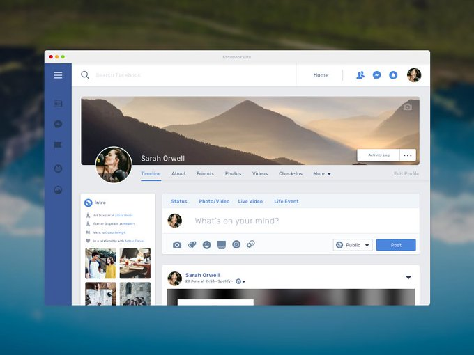 Facebook Lite Profile Page   Template freebie  design