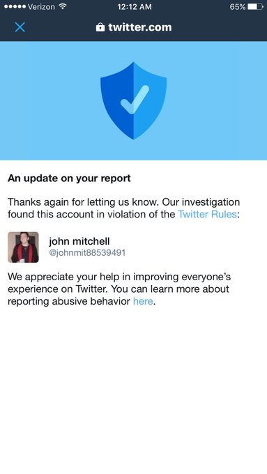 My faith in @Twitter has been renewed! After all the reports, twitter changed their mind!! Thank you