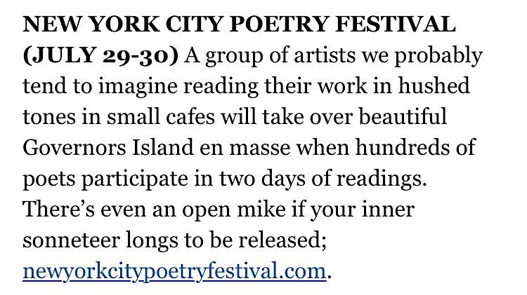 test Twitter Media - When @nytimes shouts out #NYCPOFEST :'-) RT if you're coming out to Governors Island next weekend for The New York City Poetry Festival! 🌳🗽💫 https://t.co/Zkx23iucAd