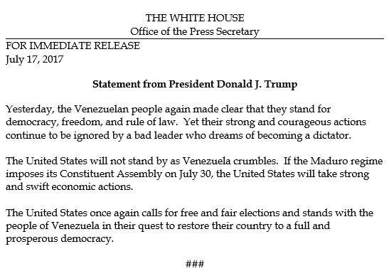 Statement from @POTUS on Venezuela. https://t.co/wh8JyZow1A