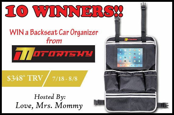 10 Winners! Motorishy Backseat Car Organizer Giveaway! $384+ TRV!