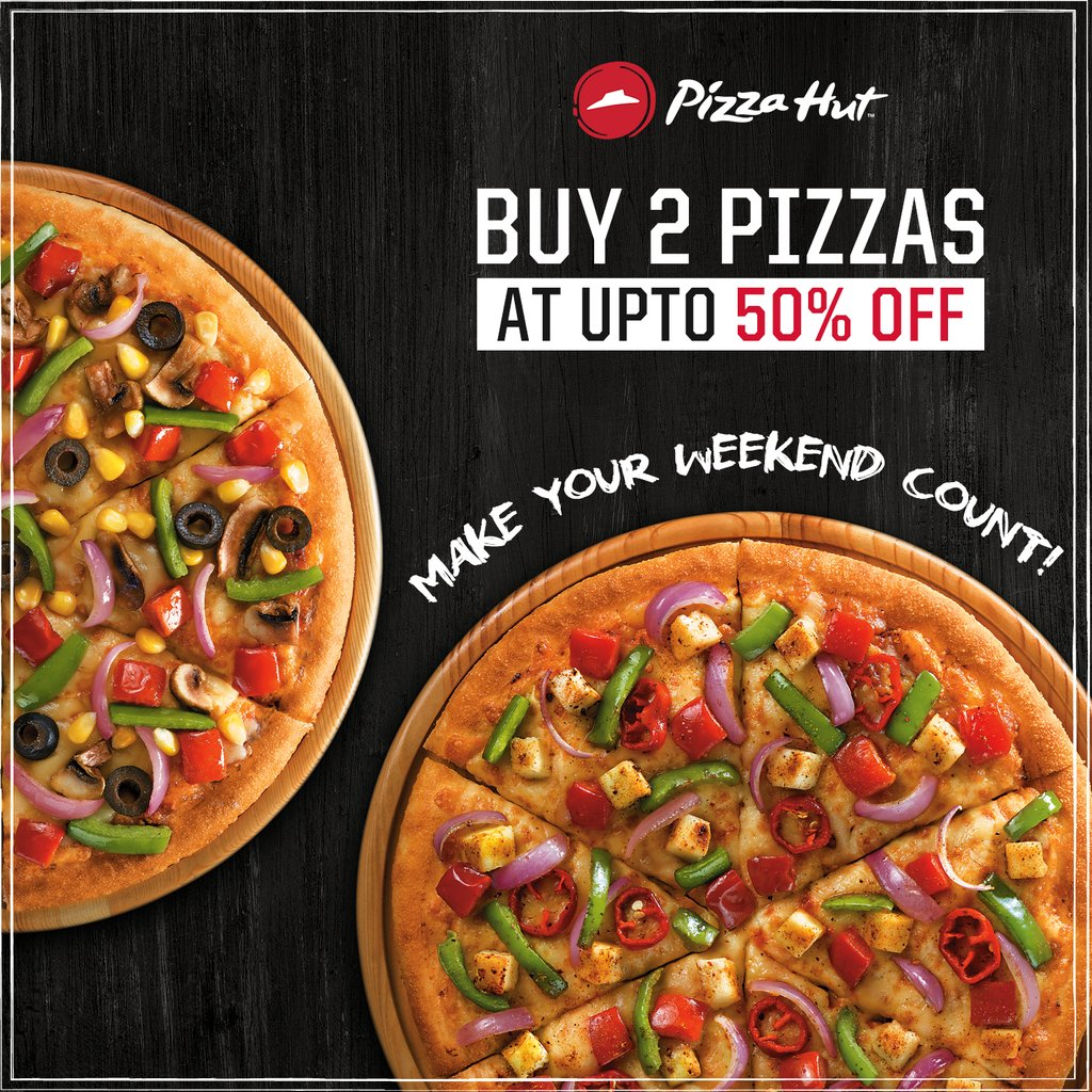Whats better than a pizza 2 of em Order now https t.co Dyf1n2czk1 WeekendVibe ThinkPizzaThinkPizzaHut https t